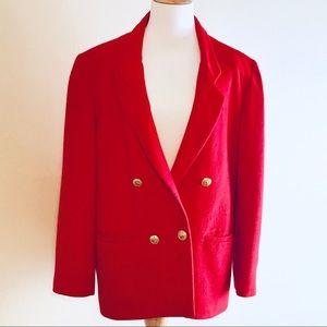 Vintage Anne Klein red cashmere blazer.